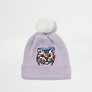 Light purple sequin cat bobble hat