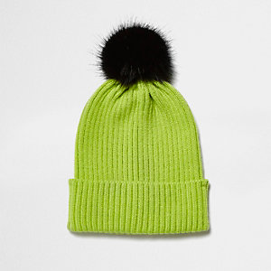 Lime green black bobble hat