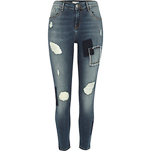 Medium blue patch Amelie super skinny jeans