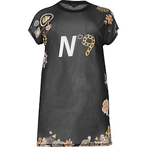 Plus black print mesh oversized T-shirt