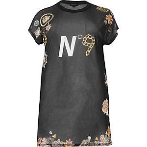 T-shirt oversize noir en tulle à imprimé RI Plus