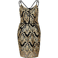 Gold embroidered bodycon dress