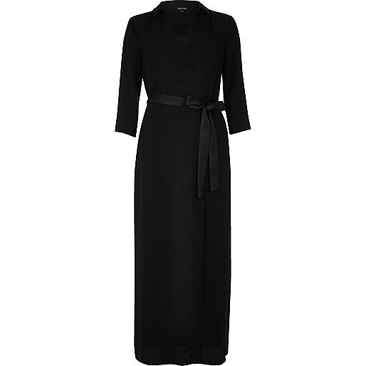 Black evening wrap maxi dress
