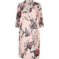 Pink oriental print shirt dress
