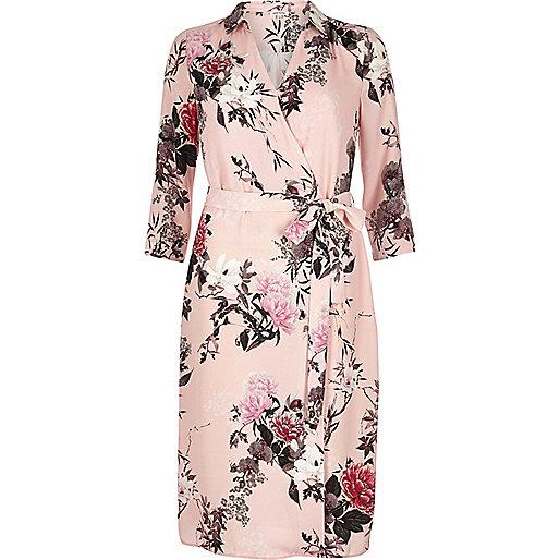 Robe chemise imprimé oriental rose