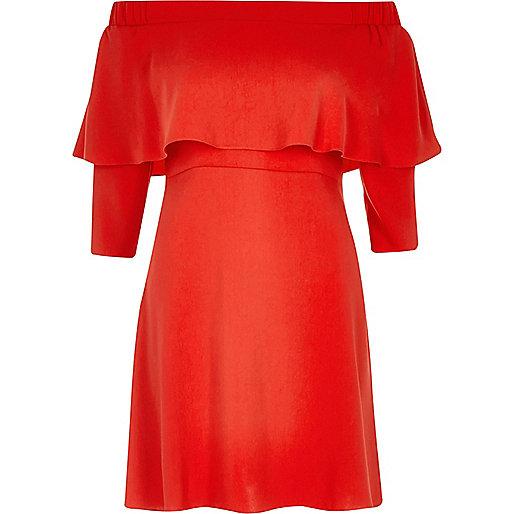Red bardot cape swing dress