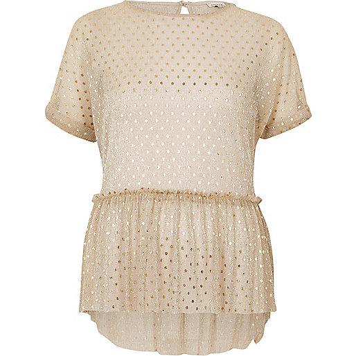 Gold polka dot mesh frill top