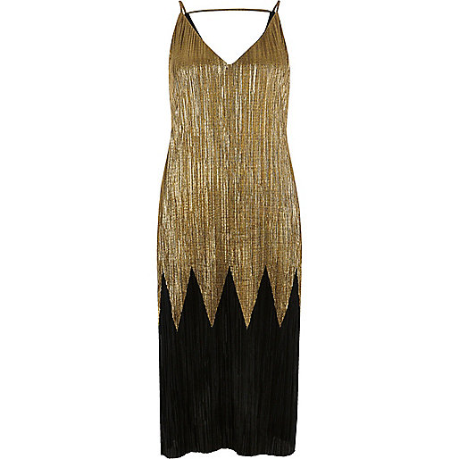 Black and gold pleated midi dress