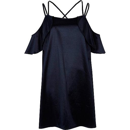 Navy satin frill cold shoulder dress