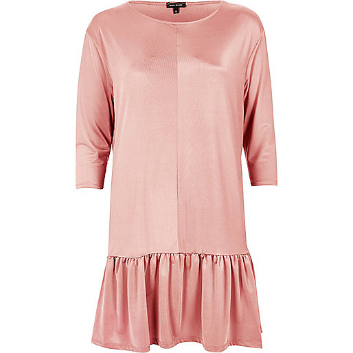 Pink frill drop hem swing dress