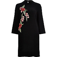Black embroidered turtleneck column dress