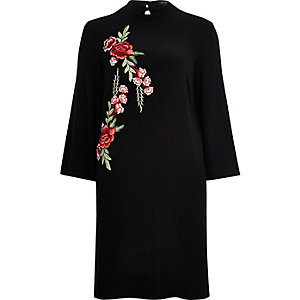 Black embroidered turtleneck column dress