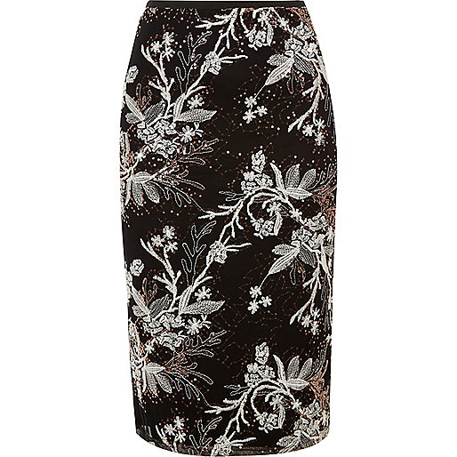 Black embroidered sequin pencil skirt