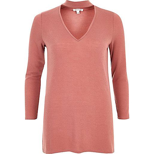 Top rose effet ras du cou en tricot