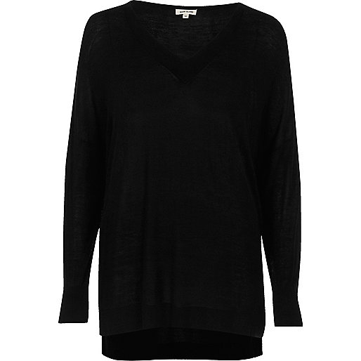 Black V-neck sweater