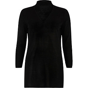 Black knit choker top