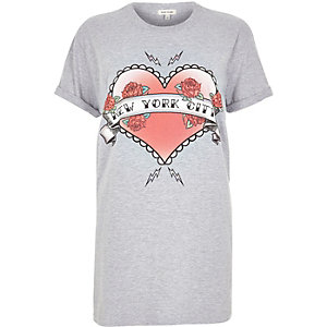Grey NYC heart print boyfriend T-shirt