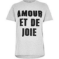 Graues, schmales, bedrucktes T-Shirt