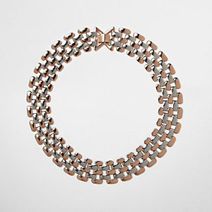 Rose gold and silver tone chain necklace