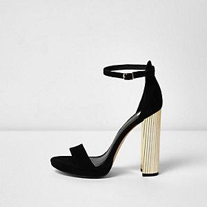 Black platform contrast heel sandals