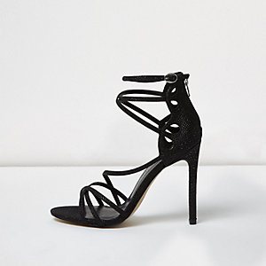 Black glitter wide fit caged sandals