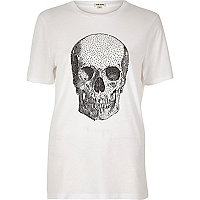 T-shirt imprimé tête de mort blanc clouté