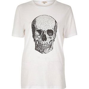 White stud skull print T-shirt