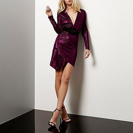 Pink plunge wrap sparkly dress