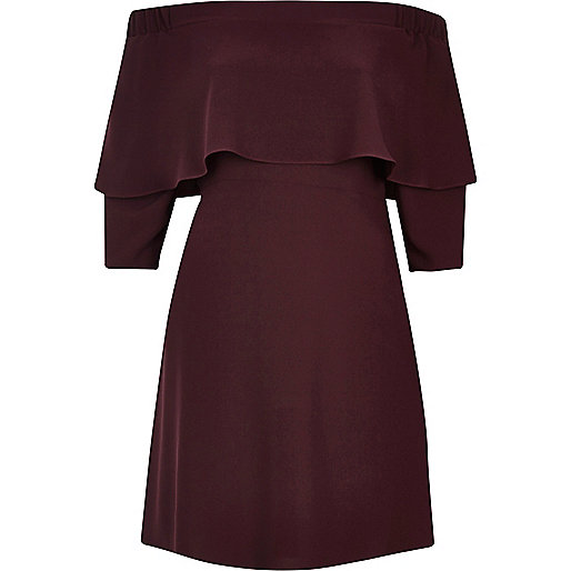 Dark berry bardot cape swing dress