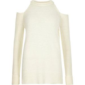 Pullover in Creme mit Schulterausschnitten