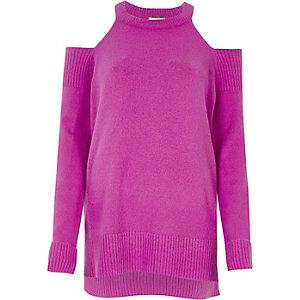 Purple knit choker cold shoulder jumper