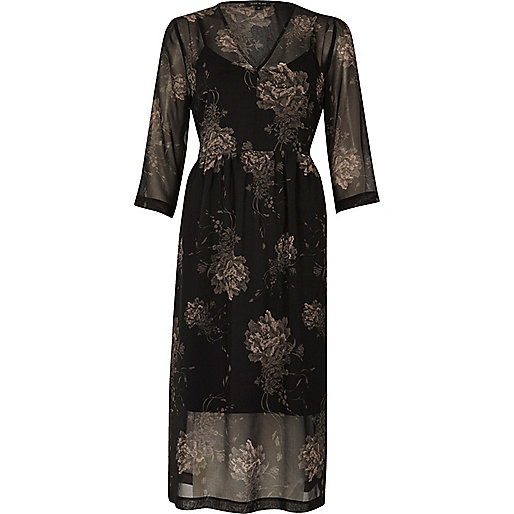 Black floral print boho waisted dress