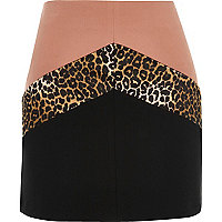 Pink block print mini skirt