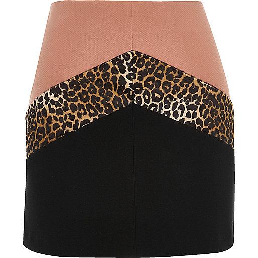 Pink block print mini skirt