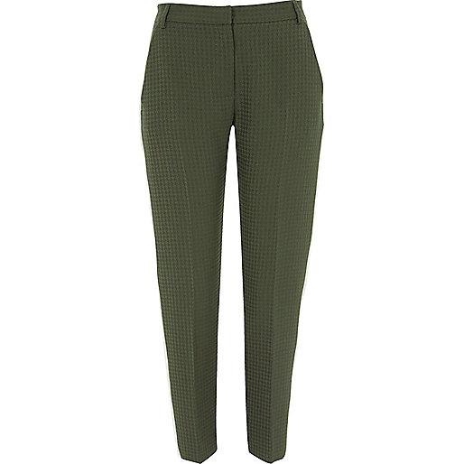Khaki green side stripe slim fit pants