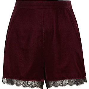 Dark red velvet lace hem cocktail shorts