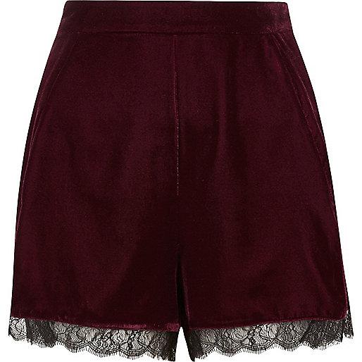 Burgundy velvet lace hem cocktail shorts