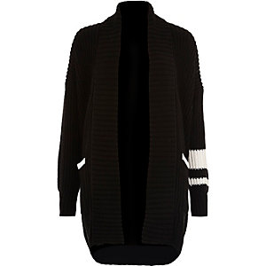 Black rib knit shawl neck cardigan