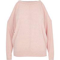 Blush pink cold shoulder batwing top