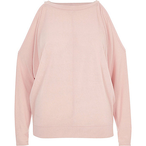 Blush pink cold shoulder batwing top