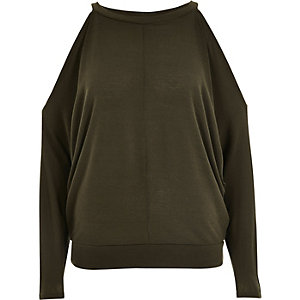 Khaki green cold shoulder batwing top
