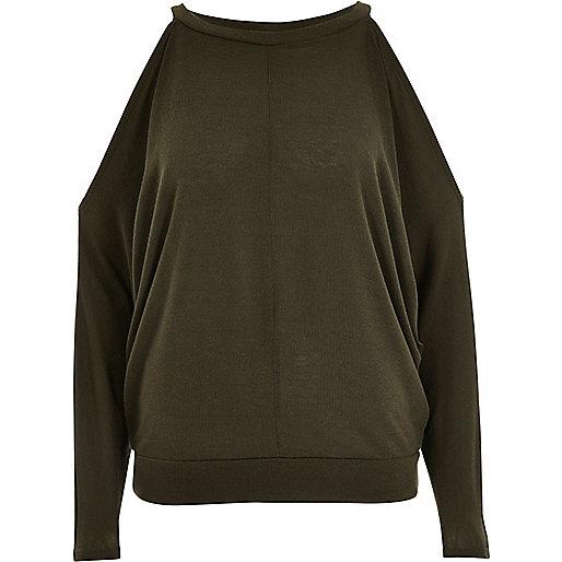 Khaki green cold shoulder batwing top