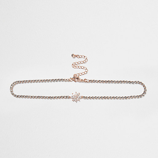 Rose gold tone diamanté flower choker