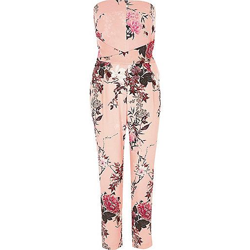 Pink floral print bandeau jumpsuit