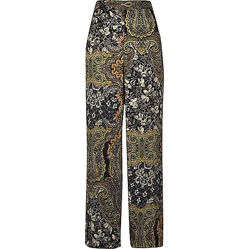 Pantalon imprimé cachemire vert à taille haute