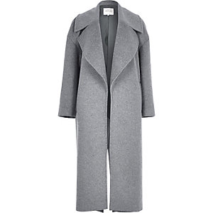 Grey wool touch oversized coat