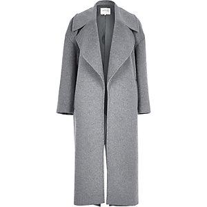 Manteau oversize gris aspect laine