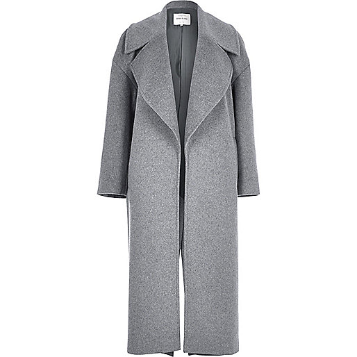 Grey wool blend oversized coat