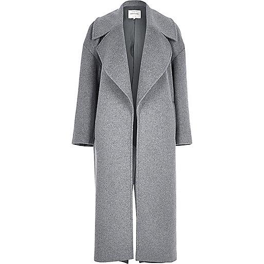 Manteau oversize en laine mélangée grise