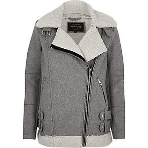 Grey borg lined aviator jacket